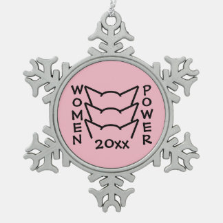 Pussy Power Cat Ears Pink Resistance Women Protest Snowflake Pewter Christmas Ornament