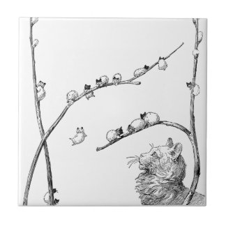 Pussy Willow Kittens and Mother Cat Tile