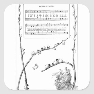 Pussy Willow Kittens Song Square Sticker