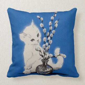 pussycat and pussywillow throw pillow