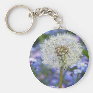 Pusteblumen sueño en flores azules de nomeolvides llavero redondo tipo pin