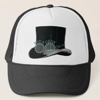 put a gear on it - steampunk trucker hat