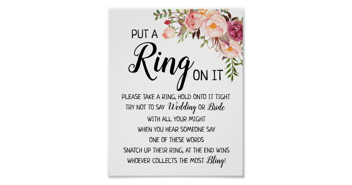Put a Ring on it bridal shower wedding game sign   Zazzle.com