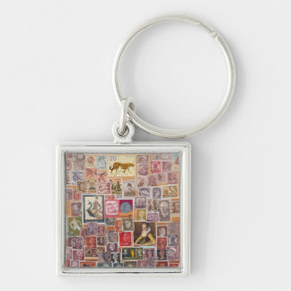 Put a Stamp on it! Silver-Colored Square Keychain