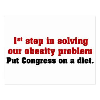 Put Congress on a diet Postcard