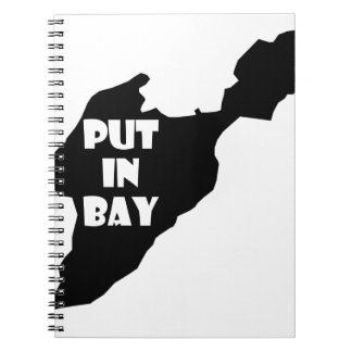 Put In Bay Island Ohio Silhouette Logo with Text Notebook