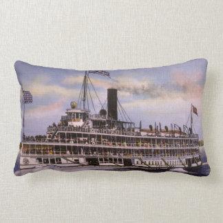 Put In Bay Vintage Passenger Steamer Great Lakes Lumbar Pillow