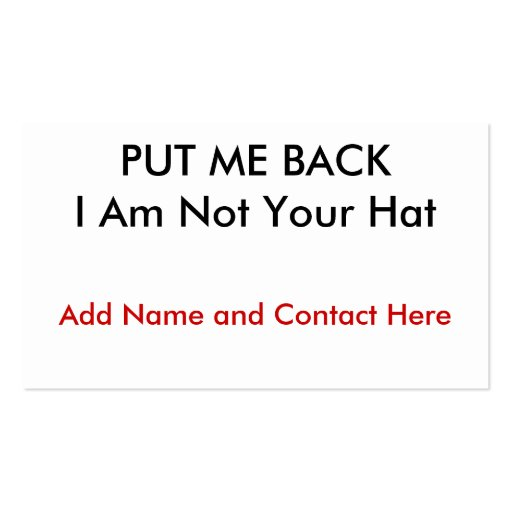 Put me back business cards zazzle for Back of business cards