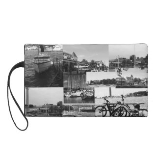Put-n-Bay Black and White Photo collage Wristlet Clutch