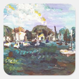 Put-n-Bay Lake Erie Island Painting #2 Square Sticker