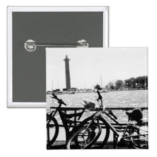Put-n-Bay Perry Monument Black and White photo Pinback Button