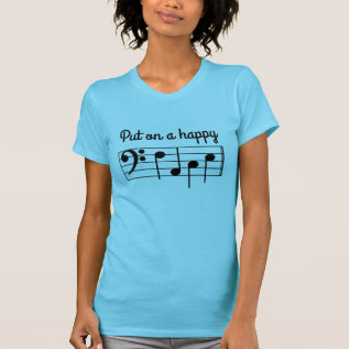 Put On A Happy Face Bass Clef Music Notes F-a-c-e T-shirt at Zazzle