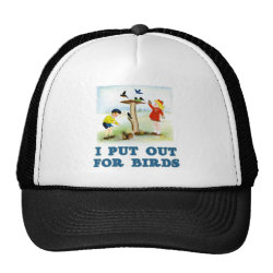 Trucker Hat with I Put Out For Bidrs (kids) design