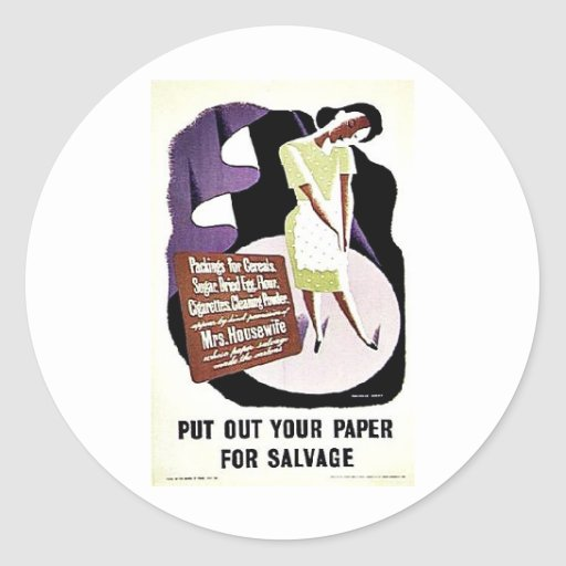 Put Out Your Paper For Salvage Round Stickers