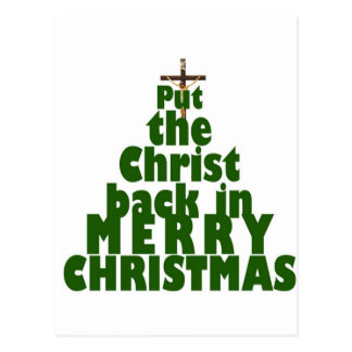 Put the Christ back in Merry Christmas Postcard