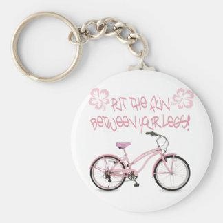 Put the FUN between yoru legs - pink Basic Round Button Keychain