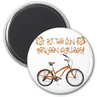 Put the FUN between your legs - Orange 2 Inch Round Magnet