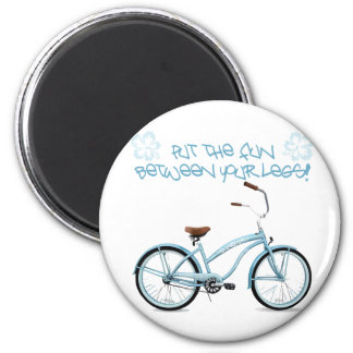 Put the FUN in between your legs - light blue 2 Inch Round Magnet