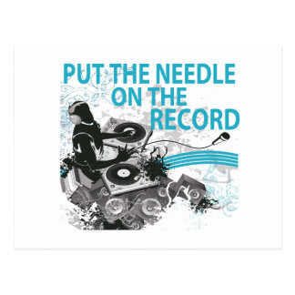 Put The Needle On The Record DJ Spinning Postcard