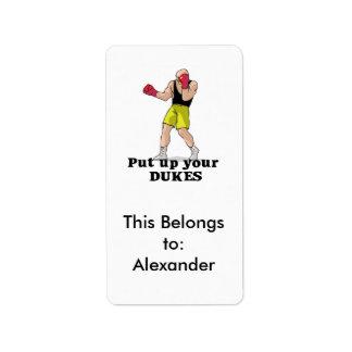 put up your dukes boxer address label