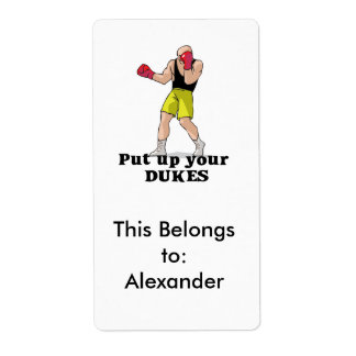 put up your dukes boxer label
