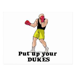 put up your dukes boxer postcard