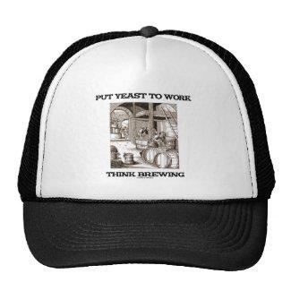 Put Yeast To Work Think Brewing (Brewer Woodcut) Trucker Hat