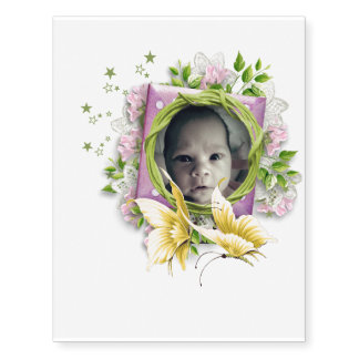 Put your baby picture in for baby shower fun temporary tattoos