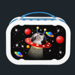 """Put your Cat in an Alien Spaceship UFO Sci Fi Lunch Box<br><div class=""""desc"""">For any animal,  your loved Cat or Pet can be put in a UFO to fly around the Universe,  passing planets and stars,  looking for new life,  pieces of Chicken and Saucers of Milk. Watch out because they are invading. A bit of fun illustration work.</div>"""