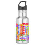 Put Your Name All Over this Collage Typographic Stainless Steel Water Bottle