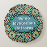 Put your words on arabesque turquoise & green round pillow
