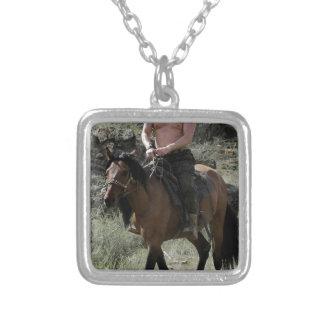 Putin descamisado monta un caballo collar plateado