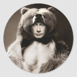 Putin el oso pegatina redonda