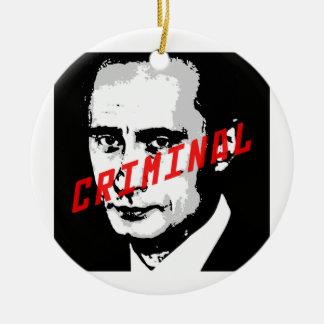 PUTIN IS A WAR CRIMINAL CHRISTMAS TREE ORNAMENT