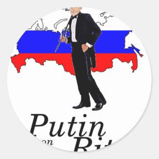 Putin on the Ritz Round Stickers
