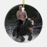 Putin rides a bear! ceramic ornament