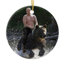 Putin rides a bear! ceramic ornament