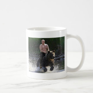 Putin rides a bear! classic white coffee mug