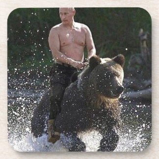 Putin rides a bear! drink coaster