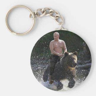 Putin rides a bear! keychain