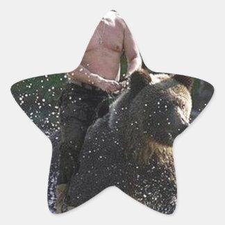 Putin rides a bear! star sticker