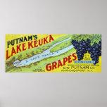 Putnam's Lake Keuka Concord Grapes Label Poster