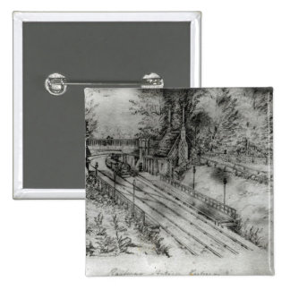 Putney Railway Station 2 Inch Square Button