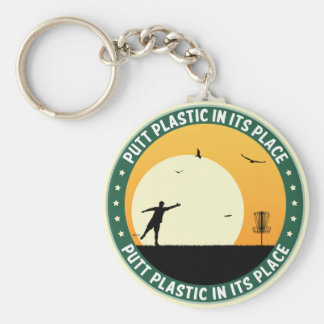 Putt Plastic In Its Place Basic Round Button Keychain