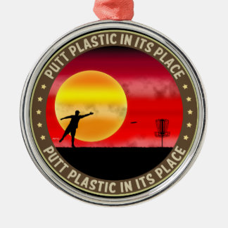Putt Plastic In Its Place Round Metal Christmas Ornament