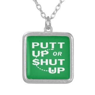 Putt Up Square Pendant Necklace