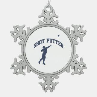 Putter de tiro adorno de peltre en forma de copo de nieve