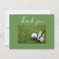 Putter with golf ball Thank you card
