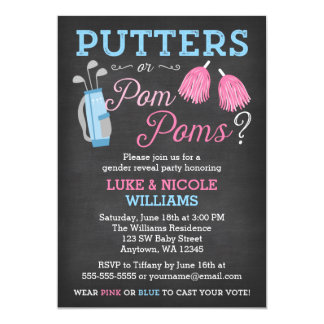 Putters or Pom Poms Gender Reveal Party Invitation