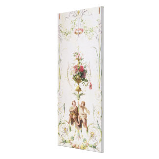 Putti amid swags of flowers and leaves canvas print